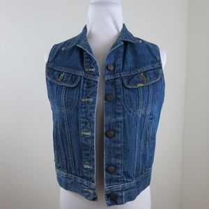 Lee Riders Ms Lee Jean Vest 9/10 Jrs Blue Vintage